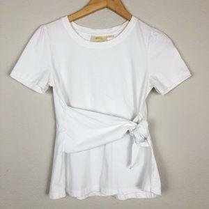 Anthro Maeve White Tie T-Shirt sz S